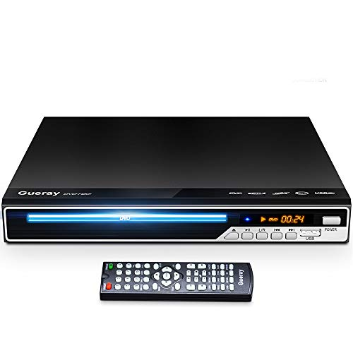 Gueray DVD Player, All Region Free DVD Player CD Disc Player for TV with HDMI/AV Output, HD 1080P, Supports MIC/USB, Remote Control, Built-in PAL/NTSC System, Coaxial Port for TV Connect,Black