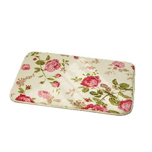 YCLOTH keukenvloermatten, deurmatten, koraal fluweel badkamer vloerbedekking, bedrukt stretch katoen absorberend tapijt