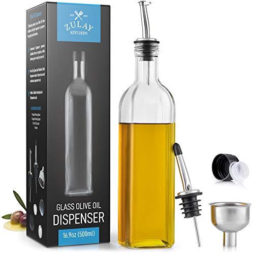 Zulay - Botella dispensadora de aceite de oliva para cocina, botella de aceite de oliva de vidrio con 2 boquillas, 2 corchos extraíbles, 2 tapas, y 1 embudo, botella de aceite para cocina y almacenamiento de líquidos (botella transparente)