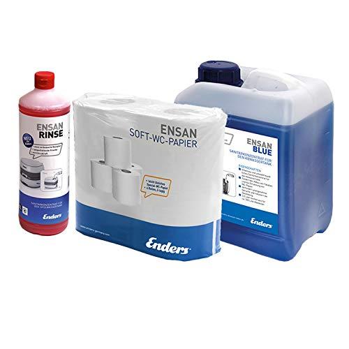 Enders Soft WC-Papier Selbstauflösend + Ensan Rinse + 5 L Ensan Blue Flüssigkeit