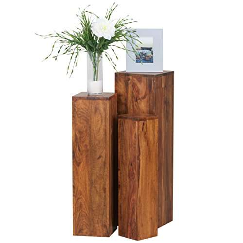 Wohnling Beistelltisch 3er Set Massivholz Sheesham Wohnzimmertisch Design Säulen Landhausstil Türme Tisch quadratisch Holztisch Natur-Produkt Echt-Holz Unikat Türme 4 Stanbeine Anstelltische braun
