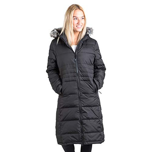 Trespass Phyllis, Black, S, Lange Warm Down Jacket with Removable Hood 50% Down for Women, Small, Black