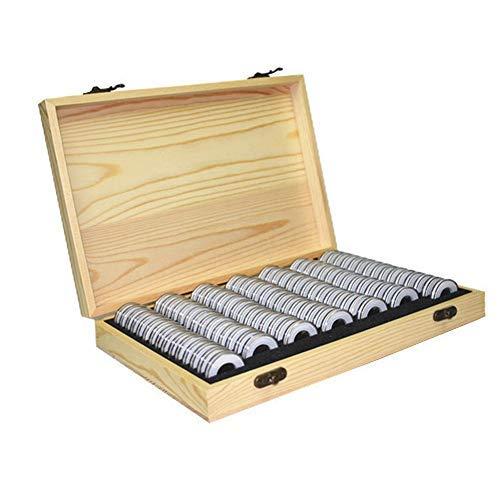 100 Pezzi Portamonete da Scatola di Immagazzinaggio di Protezione Scatola da Esposizione Rotonda in Legno Contenitore Organizer Contenitore per Collezione di Monete per Regalo da Collezione