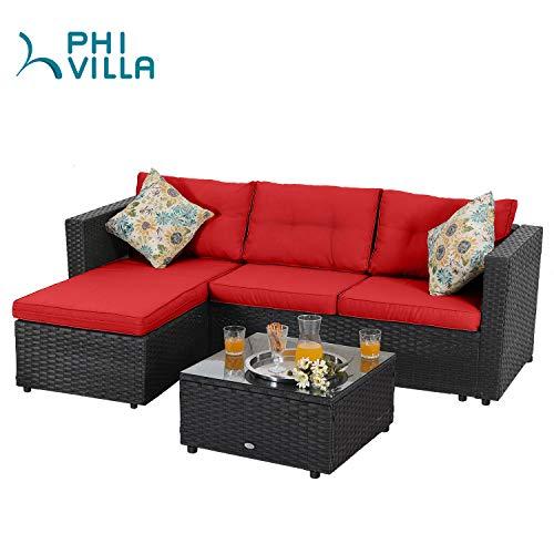 PHI VILLA 3 Piece Patio Sofa Set Low-Back Outdoor Sectional Furniture Rattan Wicker Conversation Set, Red