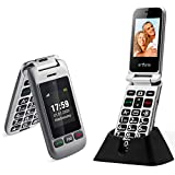 artfone Flip Cell Phone Unlocked for Elderly,AT&T Big Button Senior MobilePhone with Charging Dock and Double Screen(Silvery Grey)