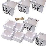 5 Pcs Cajas para Cupcakes, Caja de Embalaje de Cupcakes, Caja de Pastel Blanca, Caja para Tarta Transparente Blanca, Caja de Pastel con Pegatinas, para Bodas, Fiestas, Ceremonias, Cumpleaños