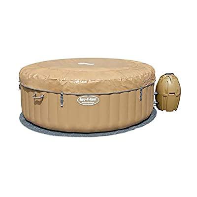 SaluSpa Bestway 77 x 28 Inch 4 to 6 Person Outdoor Inflatable Portable Palm Springs AirJet Hot Tub Pool Spa with Cover, Tan