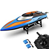 E T RC Barco Teledirigido Lancha Piscinas y Lagos Alta Velocidad (20MPH +) Barco de Control Remoto 2.4Ghz Radiocontrol Juguetes para Adultos y Niños + Extra Batería (Azul Naranja)