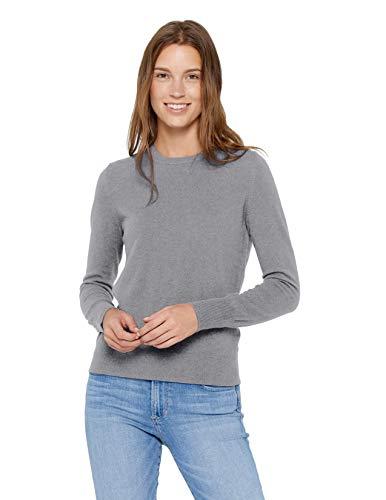 State Cashmere Damen Strickpullover 100% reines Kaschmir Feinstrick Langarm Pullover mit Rundhalsausschnitt (X-L, Grau meliert)