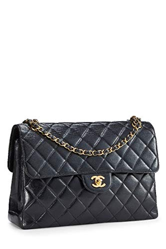 CHANEL Black Quilted Lambskin Double Sided Jumbo (Renewed)