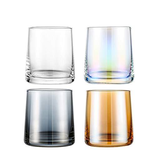 Einfachheit 4-stück Whiskyglas Transparent Hohe Kapazitätsresistente Heiße Kalte Glasschale Teetasse Glas Trinkbecher Haushalt 7.8x8.5cm MUMUJIN