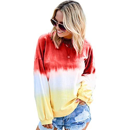 LiDaiJin Damenpullover Top Langarmpullover mit Regenbogen-Farbverlauf