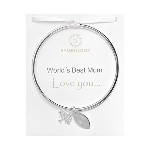 SYMBOLOGY Silver Sentiment Bangle with Family Tree Symbol & World's Best Mum Charm. Circle of Love Collection 602(Gift Boxed)