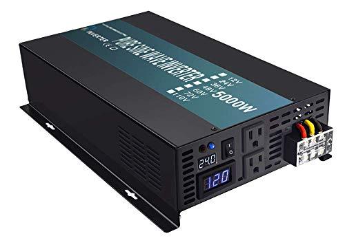 WZRELB Pure Sine Wave 5000W (10000W Surge) 24V Power Inverter DC to AC Power - Solar, RV