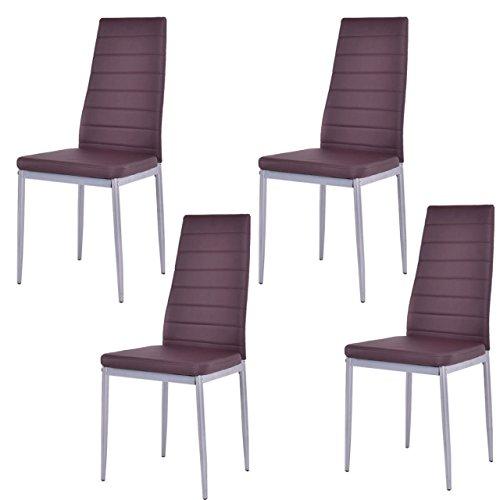 Koonlert@shop Set of 4 Elegant Dining Chairs Modern Design Comfortable Home Office Furniture/Brown #1004