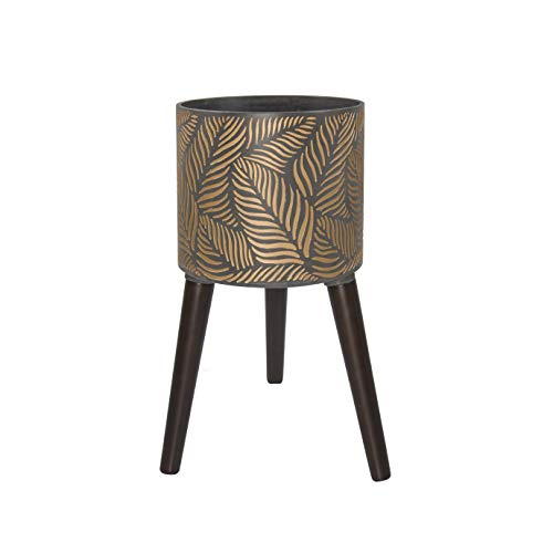 Indoor Tall Planter Pot with Stand, Leaves Design, Sturdy Standing Plant Pot with Drainage Hole, Medium, Bronze/Grey