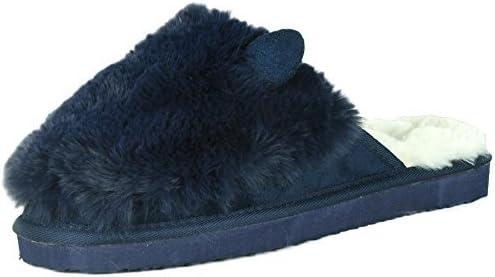 Refresh Footwear Women's Warm Faux Fur Plush Lined Cat Animal Scuff Slipper