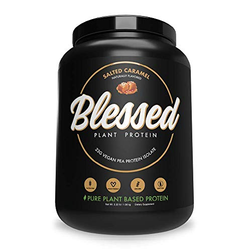 BLESSED Plant Based Protein Powder – 23 Grams, All Natural Vegan Friendly Pea Protein Powder, Gluten Free, Dairy Free & Soy Free, 30 Serves (Salted Caramel)