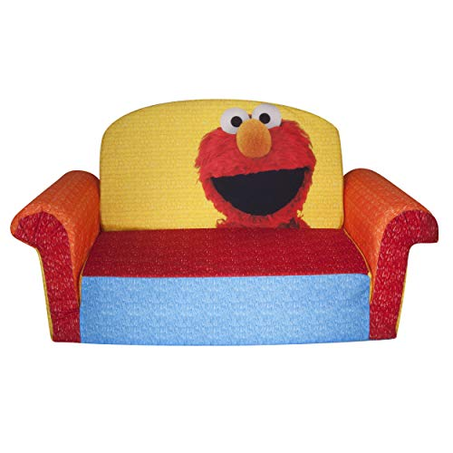 Marshmallow Furniture, Children's Upholstered 2 in 1 Flip Open Sofa, Sesame Street's Elmo/Sesame, by Spin Master