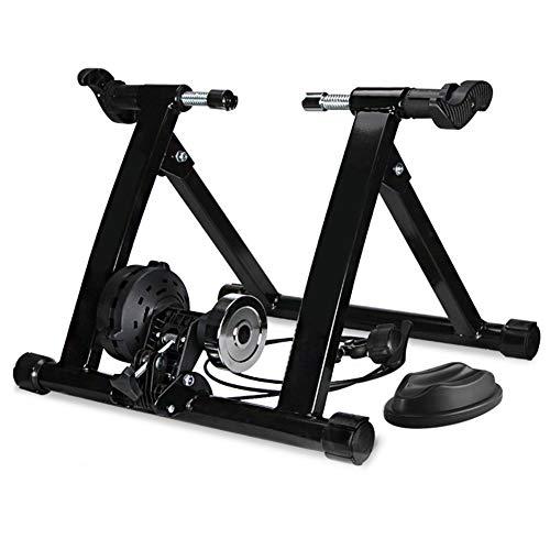YourBooy Soporte para Entrenador De Bicicleta, Bicicleta Plegable Magnética Turbo Trainer Marco Estacionario Engranaje De 7 Ciclos Resistencia Variable Cable Controlado,Negro