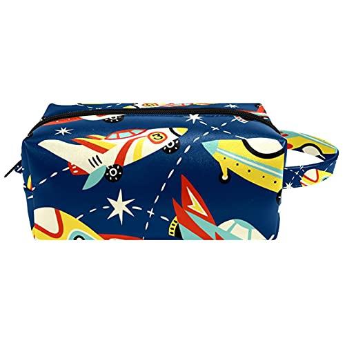 Cartone animato aereo aereo viaggio articoli da toeletta borse cosmetici borsa per le donne in microfibra pelle trucco pratico sacchetto organizzatore con cerniera