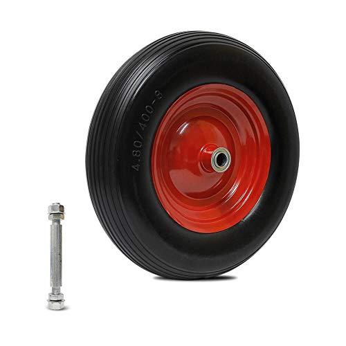 Forever Speed Schubkarrenrad Vollgummi PU Rad Pannensicher mit Achse Schubkarre Ersatztrad Räder Reifen 390mm /350mm Schiebkarren Reifen Kugellager Bollerwagen (390 * 90mm-120KG)