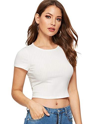 SweatyRocks Women's Basic Short Sleeve Round Neck Crop Top Knit White Small