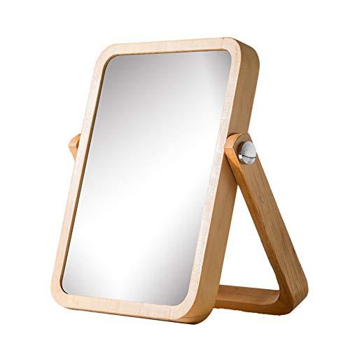 MISJIA Le Maquillage Miroir Vanity, Miroir de Table avec Socle, Cadre en Bois HD Miroir cosmétique Portable