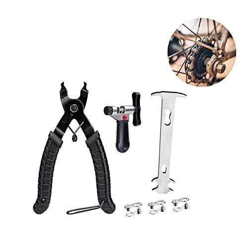 Wuudi Herramienta de cadena de bicicleta, Cadena de Bicicleta, eslabón rápido, herramienta de cierre abierto, alicates de eslabones de bicicleta + divisor de interruptor de cadena