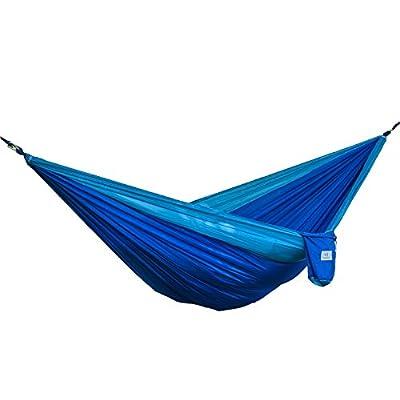 OuterEQ Portable Parachute Camping Hammocks Lightweight Nylon Fabric Travel Hammock (Light Blue/Blue, 295cm x 198cm/Double)