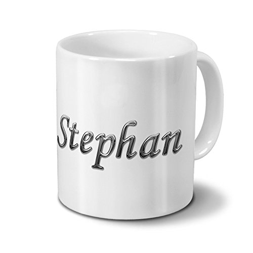 Tasse mit Namen Stephan - Motiv Chrom-Schriftzug - Namenstasse, Kaffeebecher, Mug, Becher, Kaffeetasse - Farbe Weiß