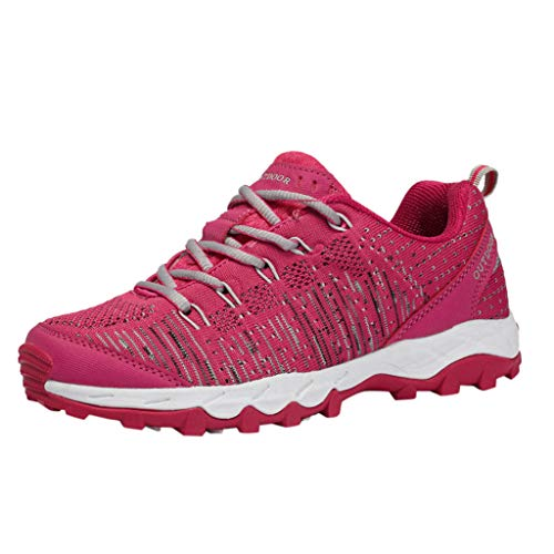 HDUFGJ Damen Trekking-& Wanderhalbschuhe Anti-Rutsch Leichtgewicht Turnschuhe Wandern Trekking Schuhe Wassersportschuhe Laufschuhe Fitnessschuhe Leichtgewicht Laufschuhe Bequem39 EU(rot)