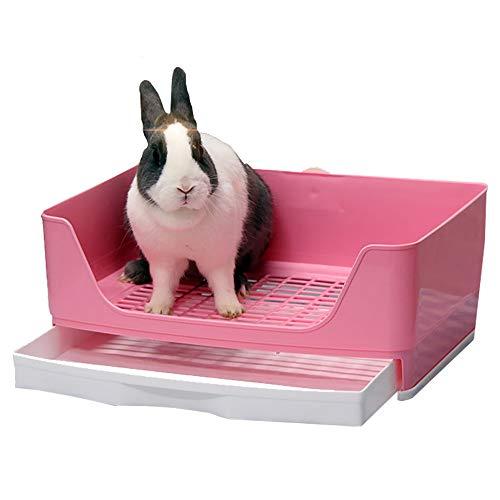 Baffect Corner Rabbit Litter Tray Ecke WC Haus, große Kaninchen Käfig Katzentoilette mit herausnehmbarer Schublade für Kleintier Kaninchen Meerschweinchen L (Pink)