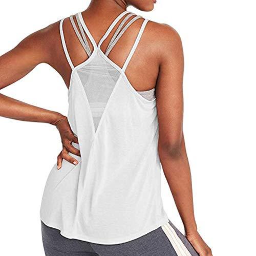 TOPKEAL Top de Yoga Sexy Activewear Malla Espalda Libre Fitness Racerback Tank Camiseta Mujer Verano Elegante Mujer Blusa Túnica Primavera Causal Tops Moda 2019 Blanco S