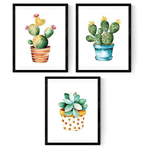 Nacnic Pack de 3 láminas para enmarcar Cactus. Estilo Acuarela. Tamaño A4. con Marco
