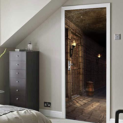 NDLSDKE Adhesivo para Puerta 3D Mazmorra Oscura DIY Impermeable Extraíble Murales Autoadhesivos Papel Tapiz 88X200Cm para Puertas Interiores del Dormitorio Casa Decoración De Hogar