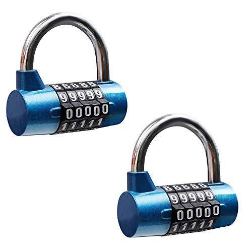 5 stelliges Kombinationsschloss (2er-Pack) - Schwerlast Sicherheitsschloss (6,3x6,5cm) für Tore, Fahrräder, Schließfächer, Zäune & Container - Einfach zu bedienen & wieder einzustellen