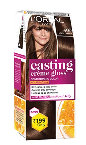 L'Oreal Paris Casting Crème Gloss Small Pack, 400 Dark Brown, 45g