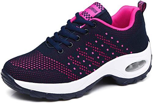Solshine Damen Sportschuhe Air Turnschuhe Fitness Mesh Sneaker 576 Dunkelblau&Pink 39EU