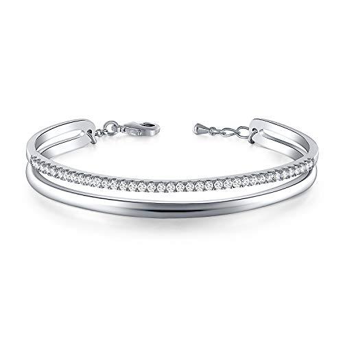 THEHORAE Silber Damen armbänder Armreif für Frauen Geburtstagsgeschenk für Mama Frau Einstellbar Armkette Armband mit Regenbogen Kristallen von Austria