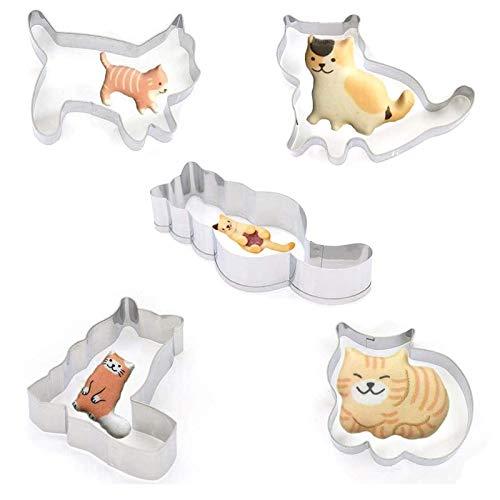 AMACOAM, set di 5 stampi per biscotti a forma di gatto, in acciaio inox, per fondente, biscotti a forma di gatto