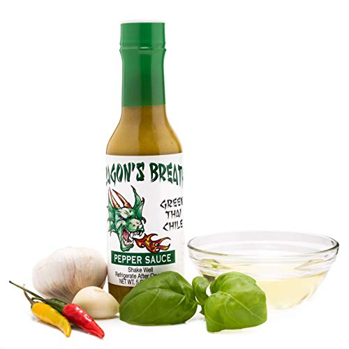 Dragon's Breathe Pepper Sauce (Green Thai Chili) with Spicy Bold Flavor made from Exotic Bird's Eye Chili Pepper