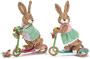 burton+BURTON Decor Boy and Girl Bunny On Scooters