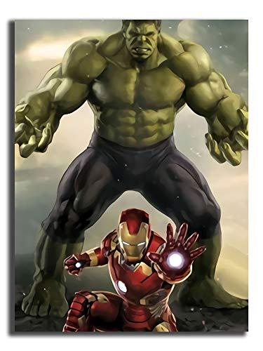 The invencible Ironman and The Incredible Hulk 3D Abstracto Art Paints Lienzo Arte Arte Arte Arte Fotos Contemporáneo Paisaje Moderno para Decoración de Oficina 30.5 x 45.7 cm