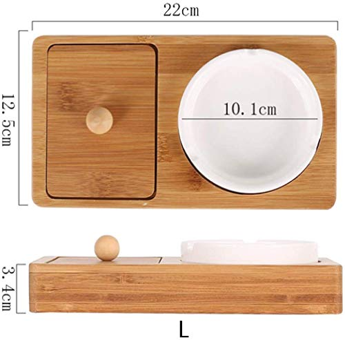 AMITD Rechthoekige milieuvriendelijke multifunctionele tasbak (22 x 12 cm) Home Bamboo Bottom Tray keramiek met opbergruimte asbak set