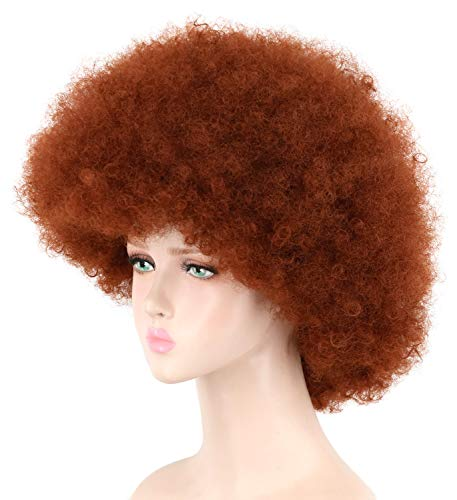 Yuehong Short Fluffy Disco Afro Wigs Synthetic Cosplay Fancy Funny Wigs for Unisex Men Women (Red Brown)