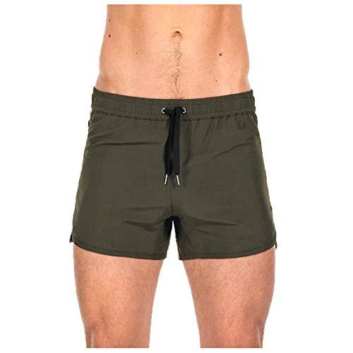 Pantalones cortos para hombre, elásticos, de secado rápido, para entrenamiento de baloncesto, para correr, verano, trabajo, playa, S2405 verde XXL