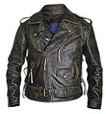 Chaqueta de cuero para motociclista con cordones laterales, Marrón vintage., L