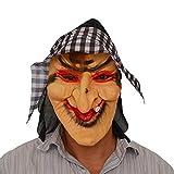 YGHBKL Máscara Plaid BU Witch Head Set Máscara de látex Prom Performance Prop Dress UpPlaid Witch Mask