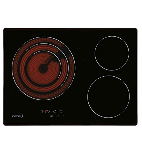 Cata Modelo TT 5003 - Placas Vitrocerámica, , 3 Zonas de Cocción High Light, Ancho de 60 cm, 9 Niveles de Potencia Regulables, Potencia Total 5,7kW, Color Negro